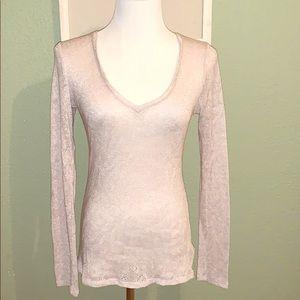 Light pink lace knit sweater